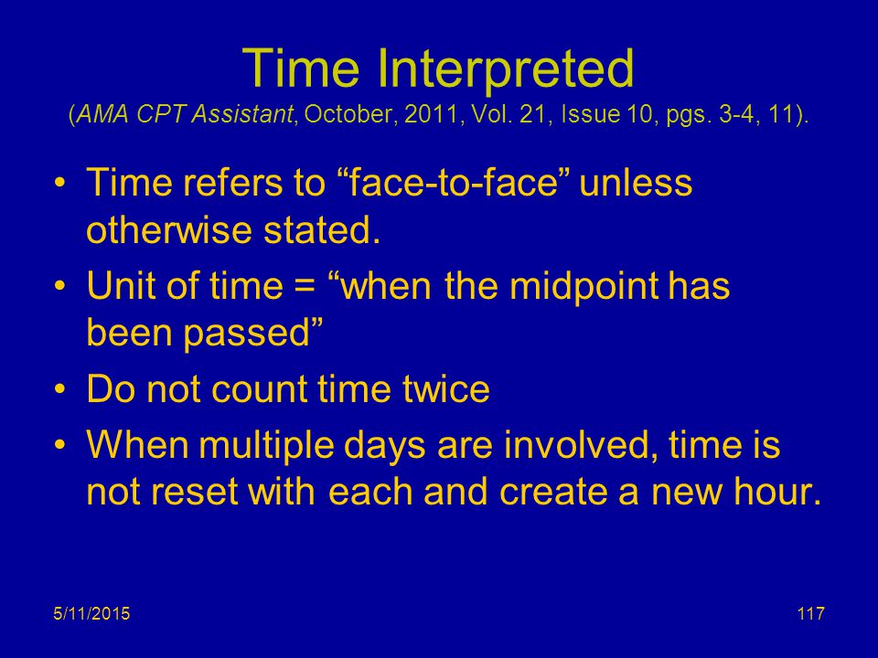 Time Interpreted (AMA CPT Assistant, October, 2011, Vol