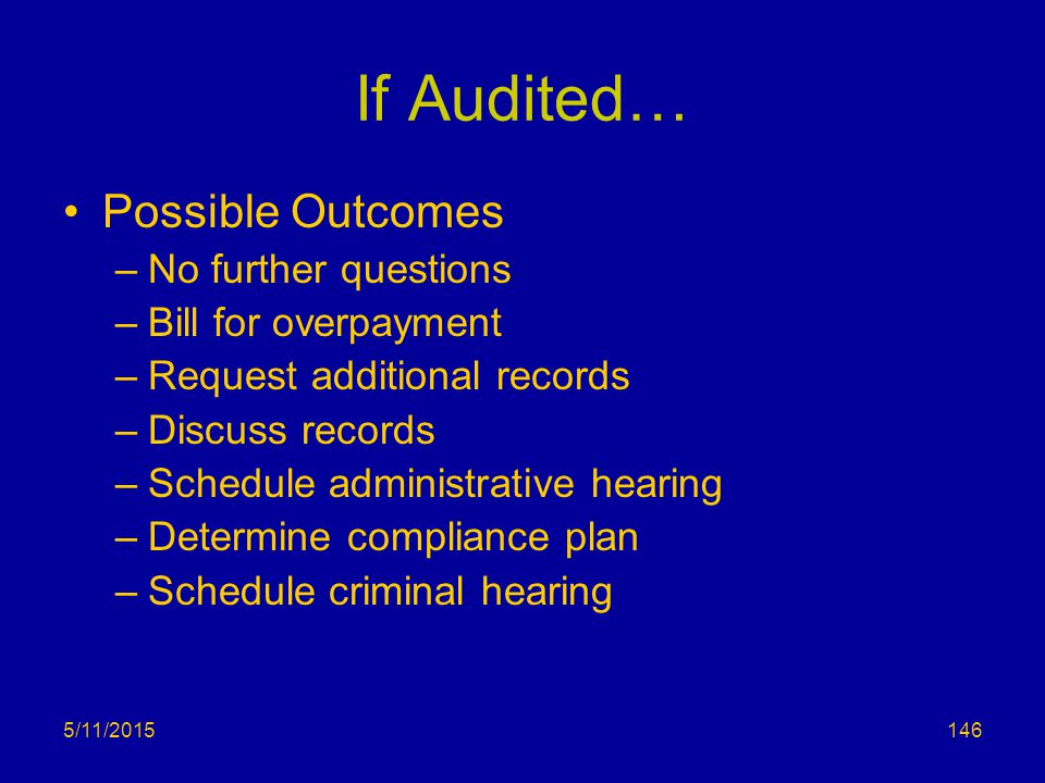 If Audited… Possible Outcomes No further questions