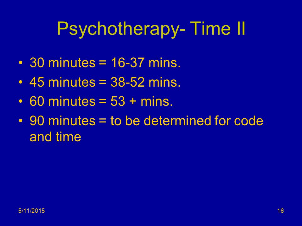 Psychotherapy- Time II