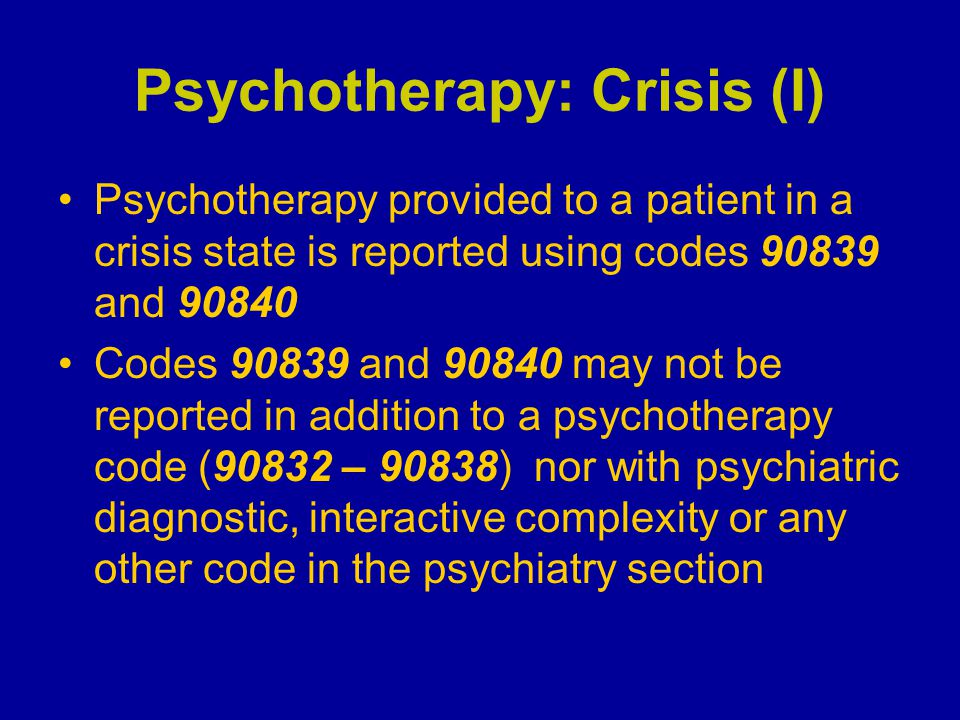 Psychotherapy: Crisis (I)