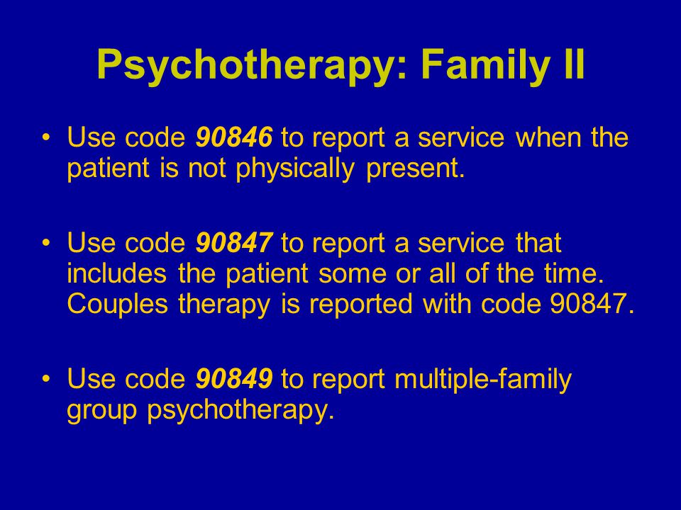 Psychotherapy: Family II