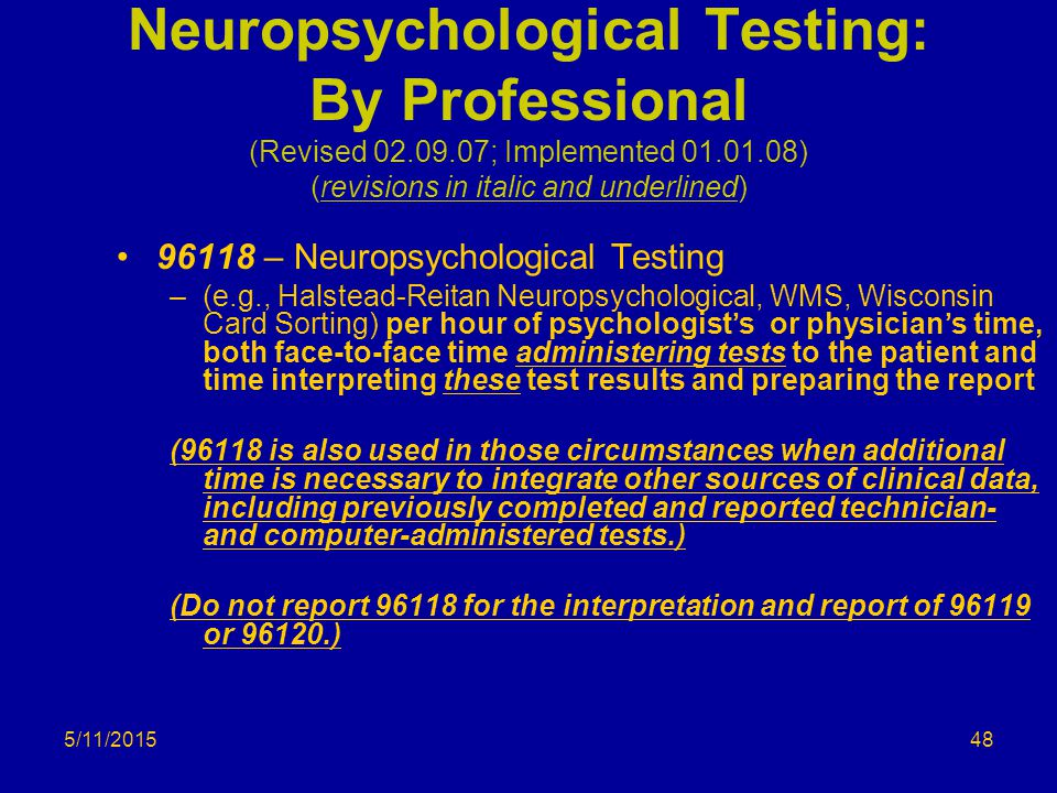 Neuropsychological Testing: By Professional (Revised 02. 09