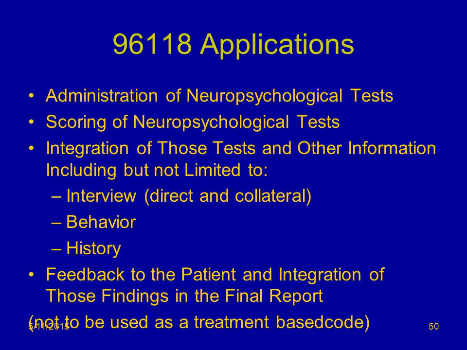 96118 Applications Administration of Neuropsychological Tests