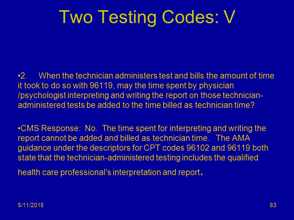 Two Testing Codes: V