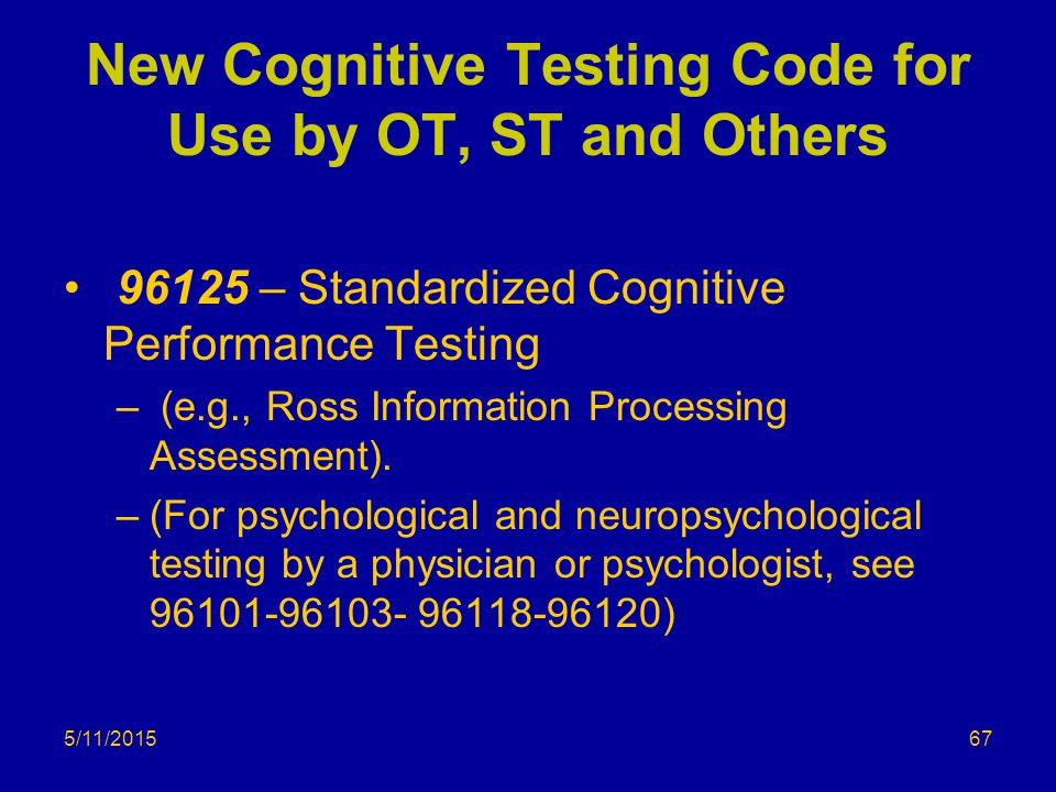 New Cognitive Testing Code for Use by OT, ST and Others