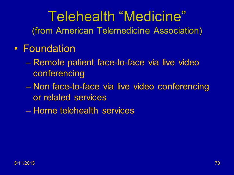 Telehealth Medicine (from American Telemedicine Association)