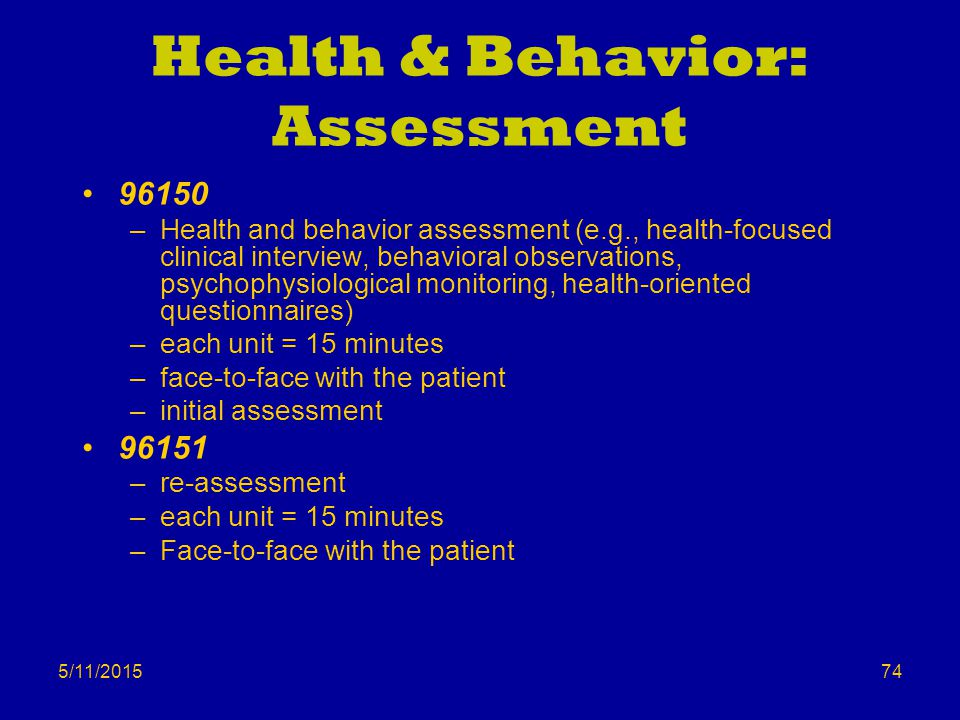 Health & Behavior: Assessment