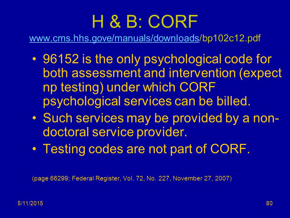 H & B: CORF www.cms.hhs.gove/manuals/downloads/bp102c12.pdf