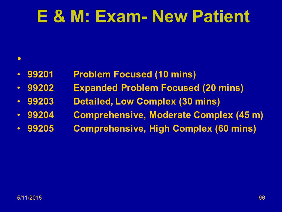 E & M: Exam- New Patient 99201 Problem Focused (10 mins)
