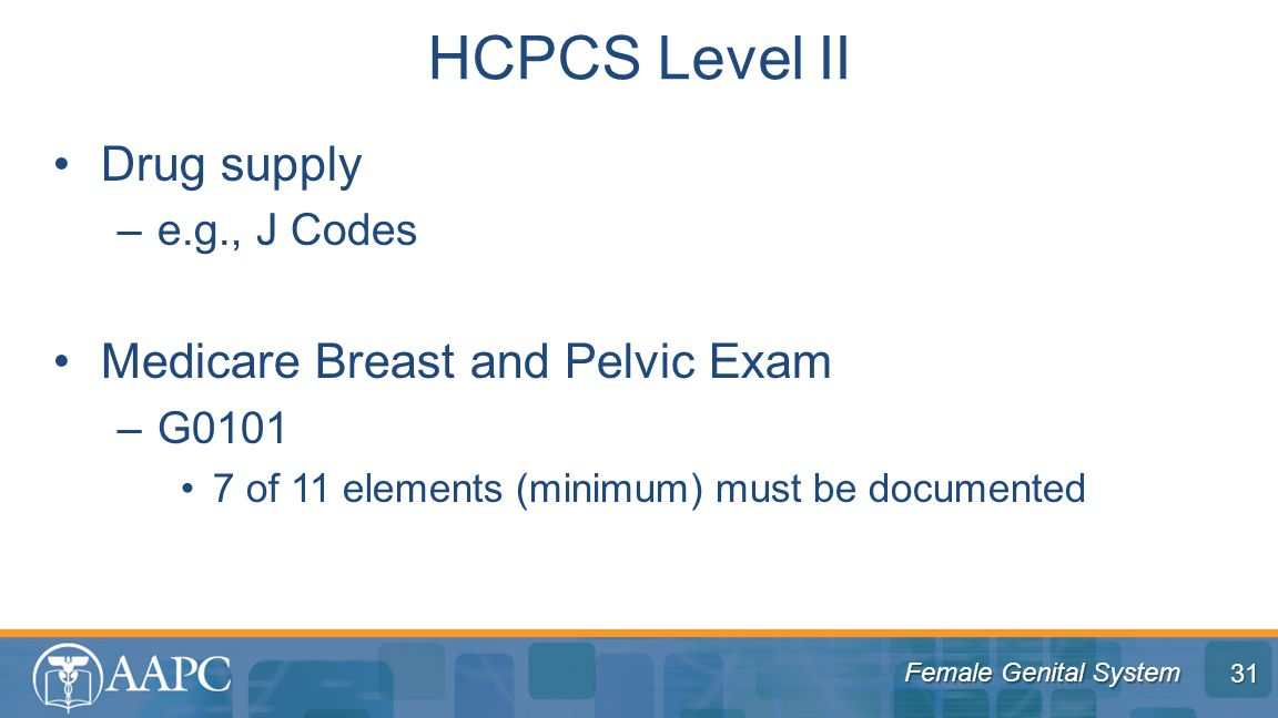 HCPCS Level II Drug supply Medicare Breast and Pelvic Exam