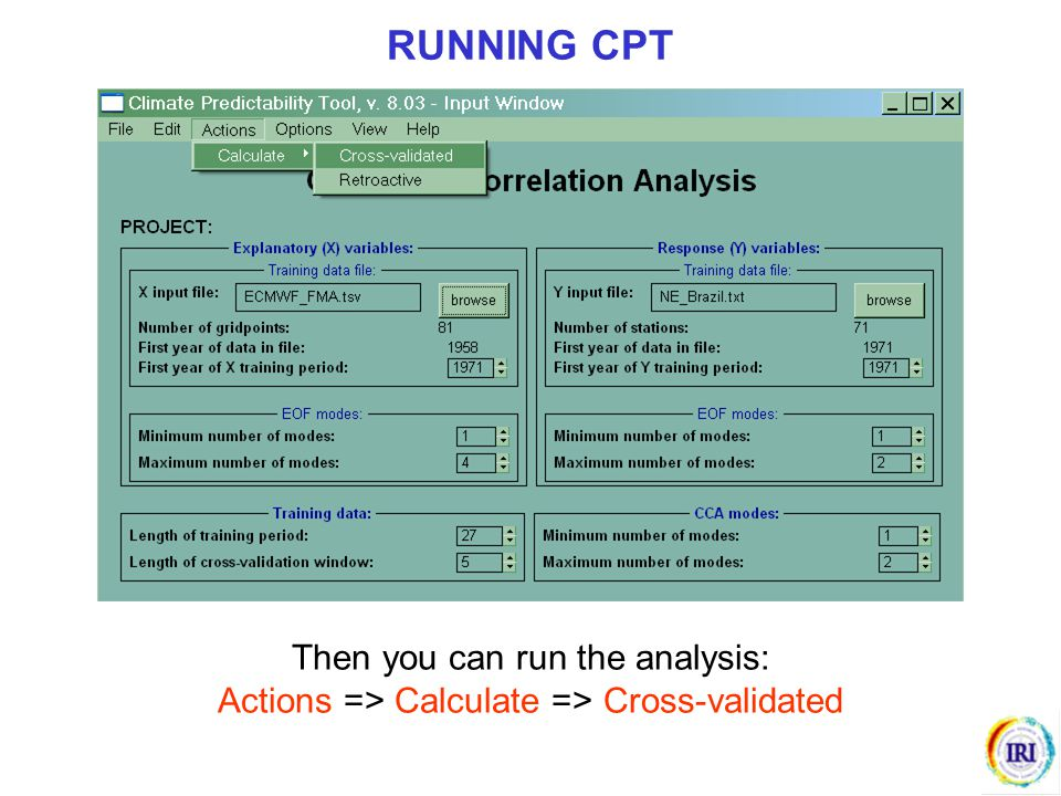 RUNNING CPT Then you can run the analysis: