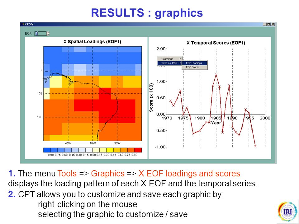 RESULTS : graphics 1. The menu Tools => Graphics => X EOF loadings and scores. displays the loading pattern of each X EOF and the temporal series.