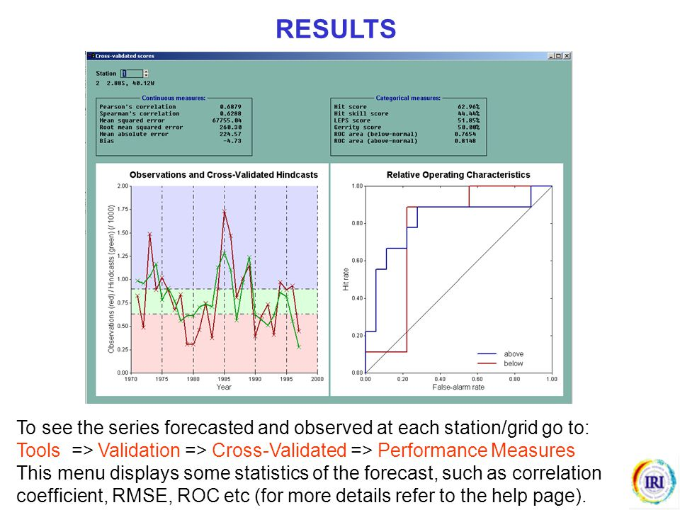RESULTS To see the series forecasted and observed at each station/grid go to: Tools => Validation => Cross-Validated => Performance Measures.