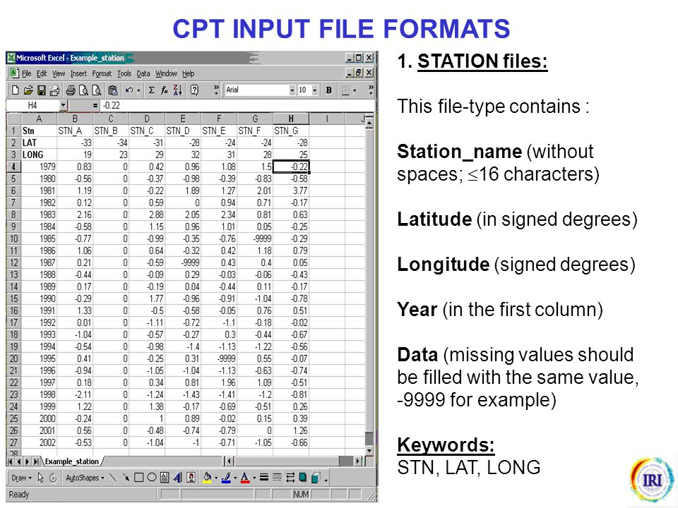 CPT INPUT FILE FORMATS 1. STATION files: This file-type contains :