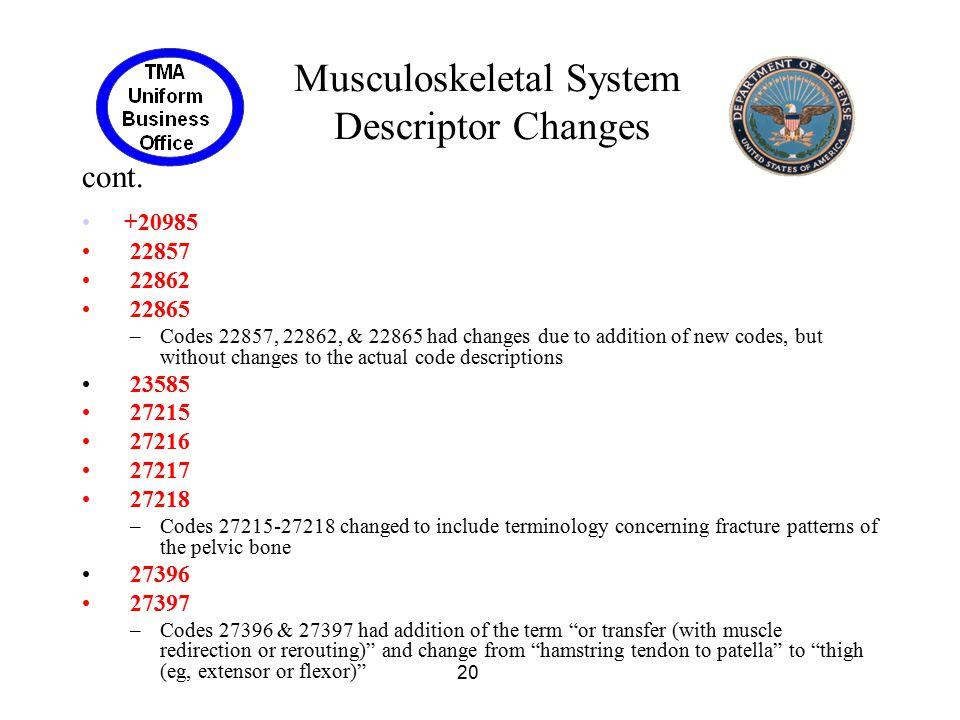 Musculoskeletal System Descriptor Changes cont.