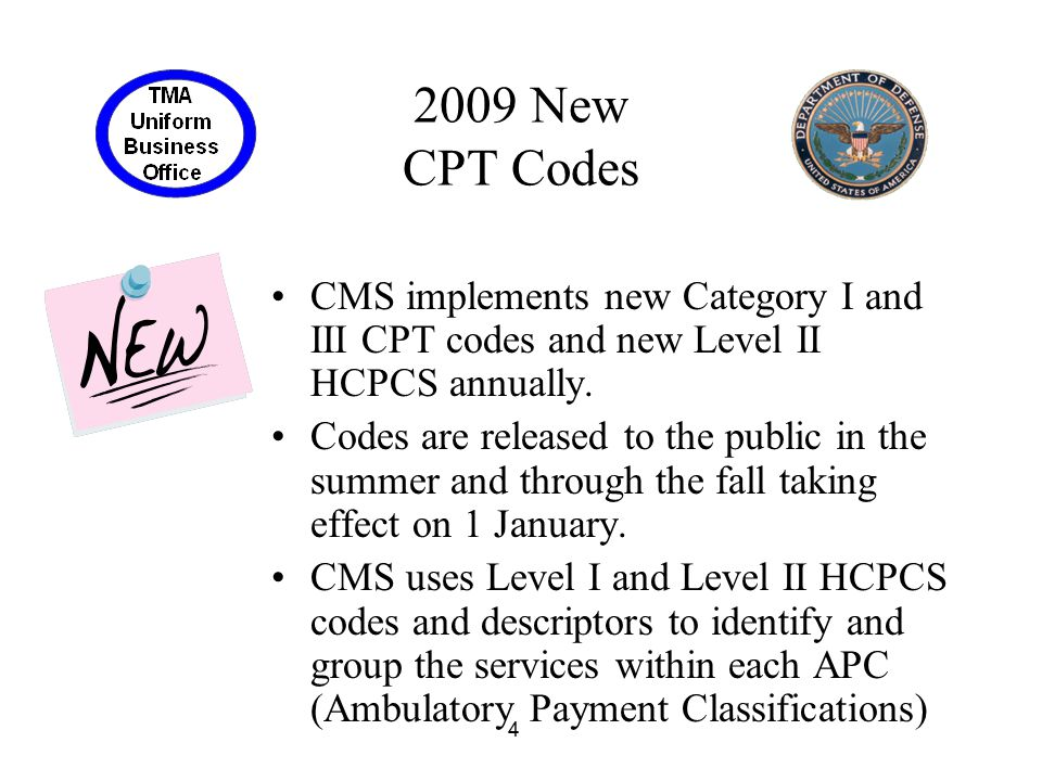 2009 New CPT Codes CMS implements new Category I and III CPT codes and new Level II HCPCS annually.