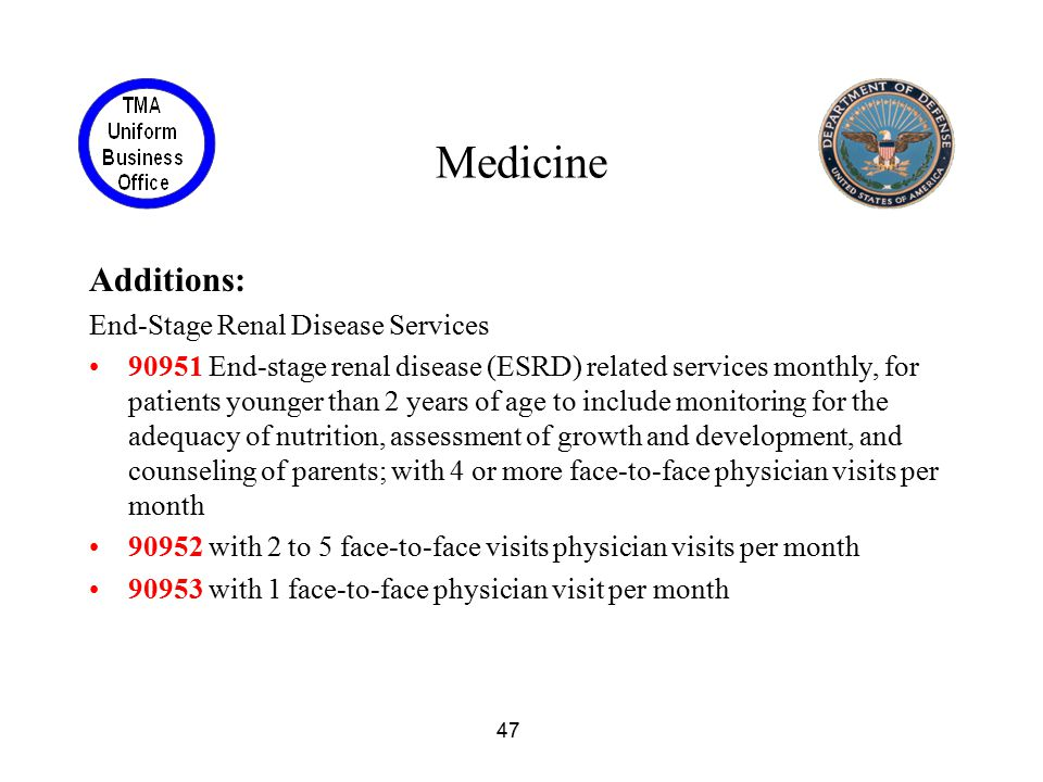 Medicine Additions: End-Stage Renal Disease Services