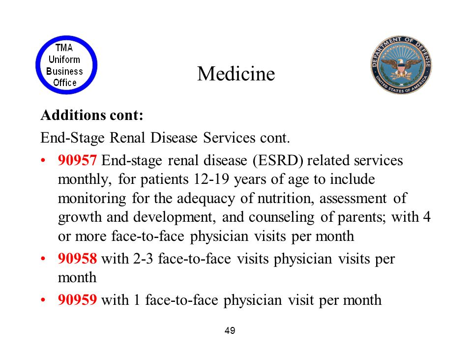 Medicine Additions cont: End-Stage Renal Disease Services cont.