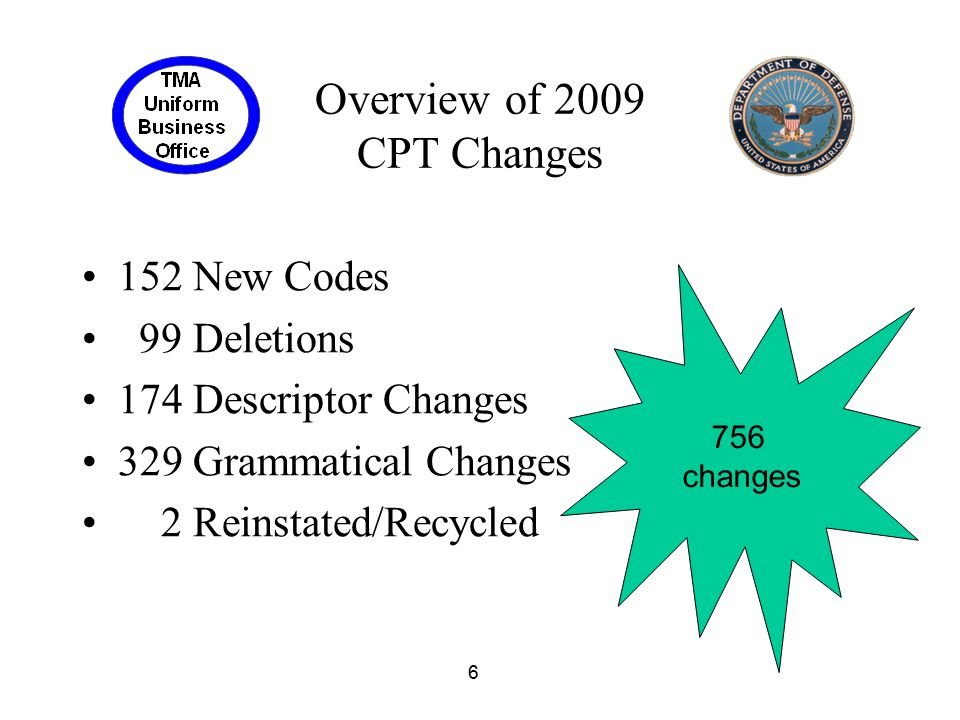 Overview of 2009 CPT Changes