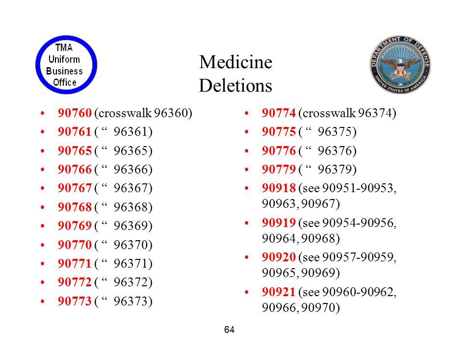 Medicine Deletions 90760 (crosswalk 96360) 90761 ( 96361)