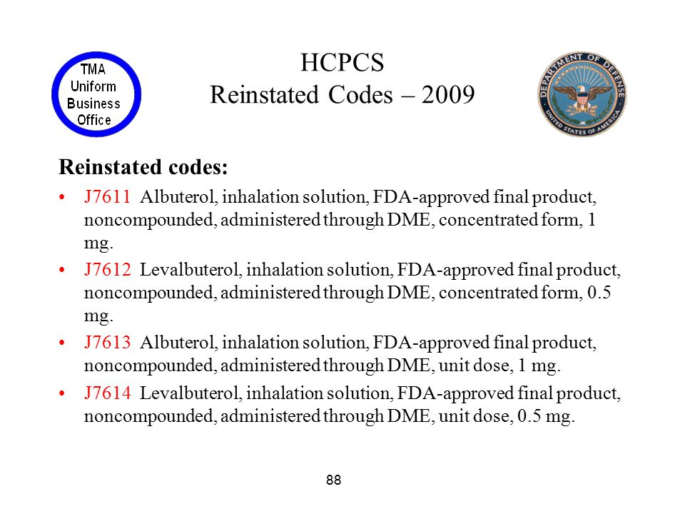 HCPCS Reinstated Codes – 2009