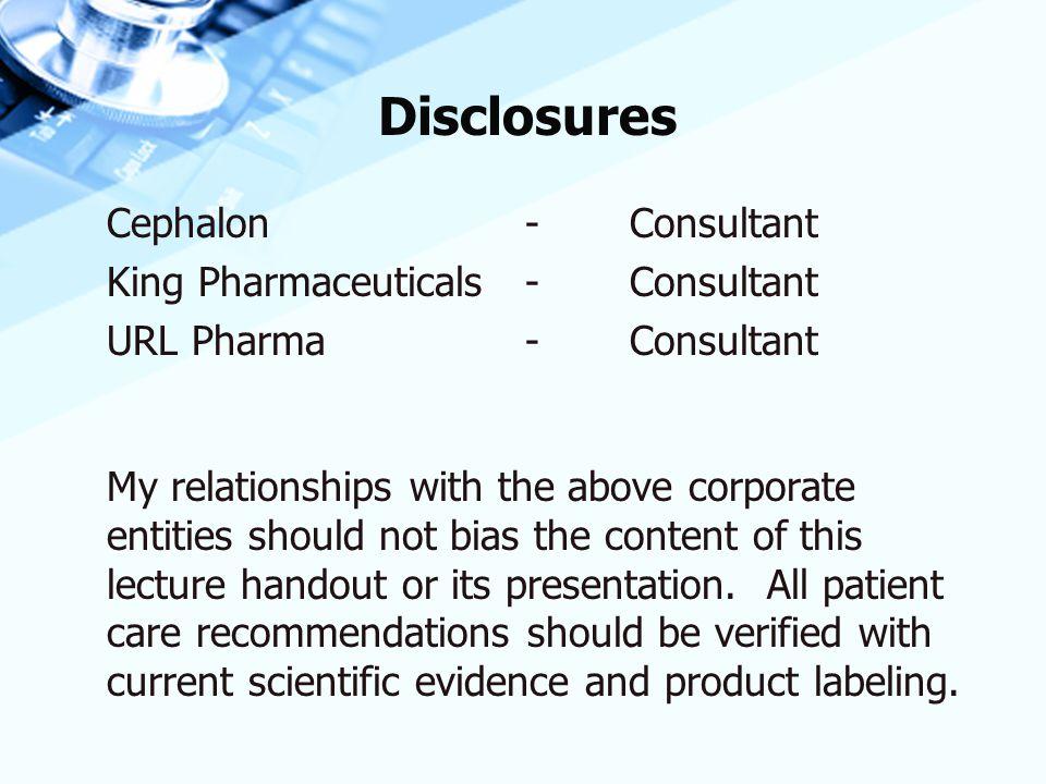Disclosures Cephalon - Consultant King Pharmaceuticals - Consultant