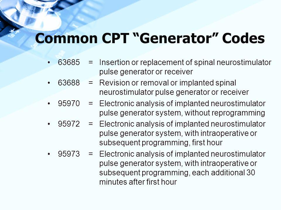 Common CPT Generator Codes