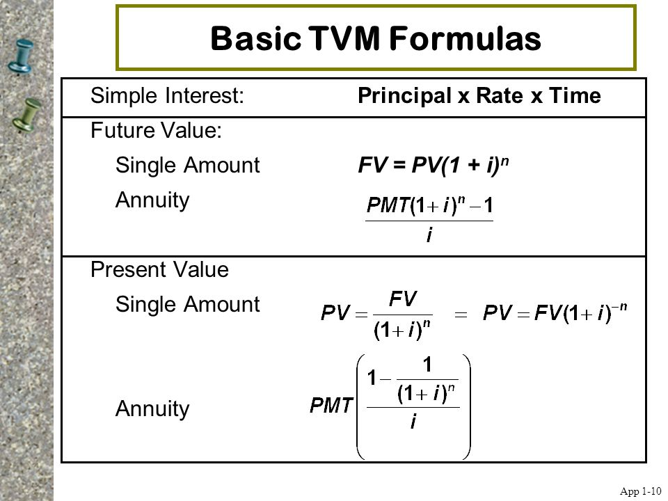 Basic TVM Formulas Simple Interest: Principal x Rate x Time