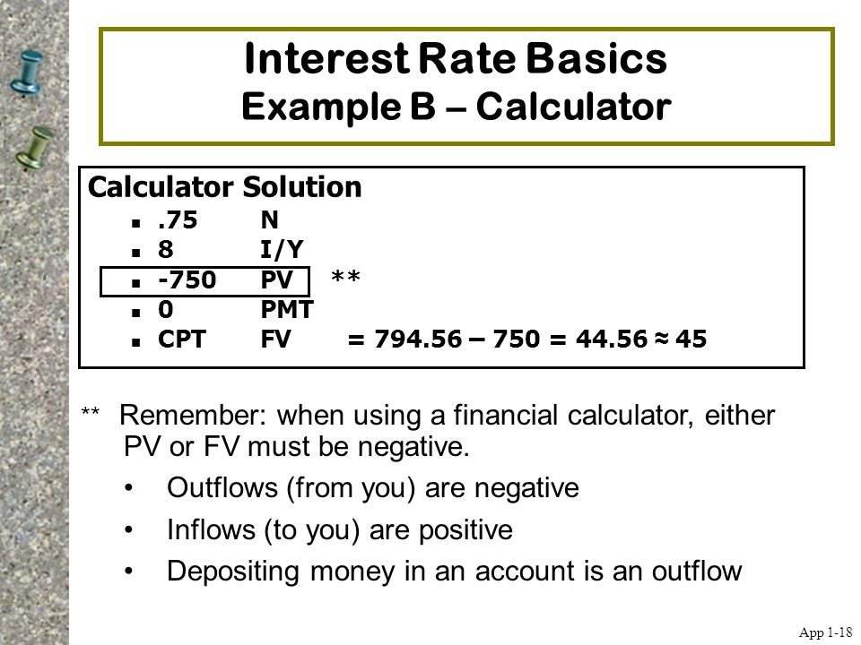 Interest Rate Basics Example B – Calculator