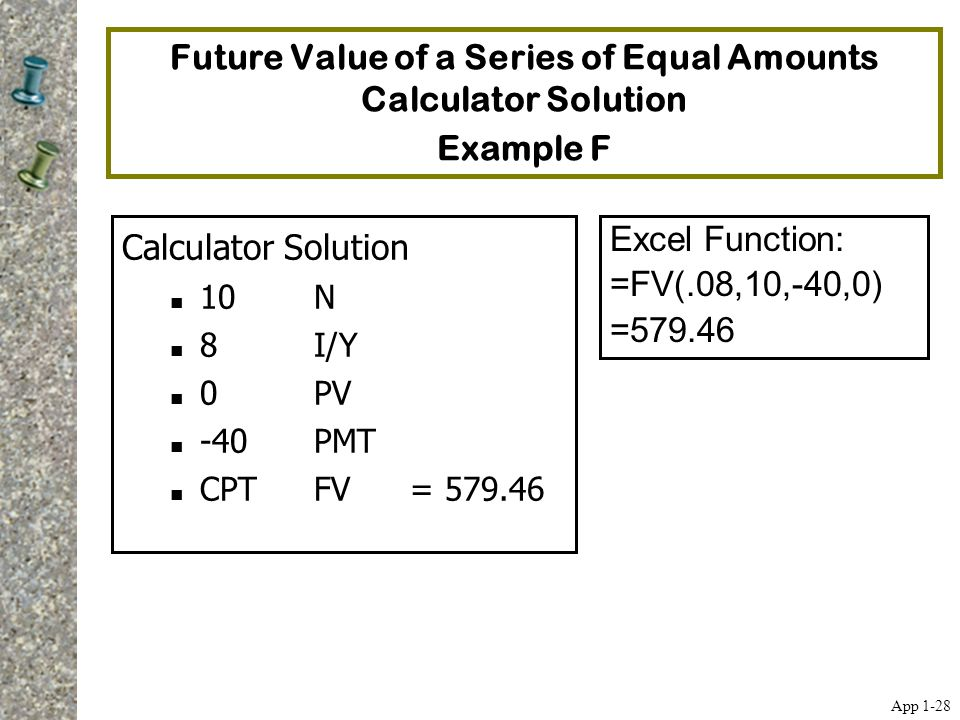 Future Value of a Series of Equal Amounts Calculator Solution Example F