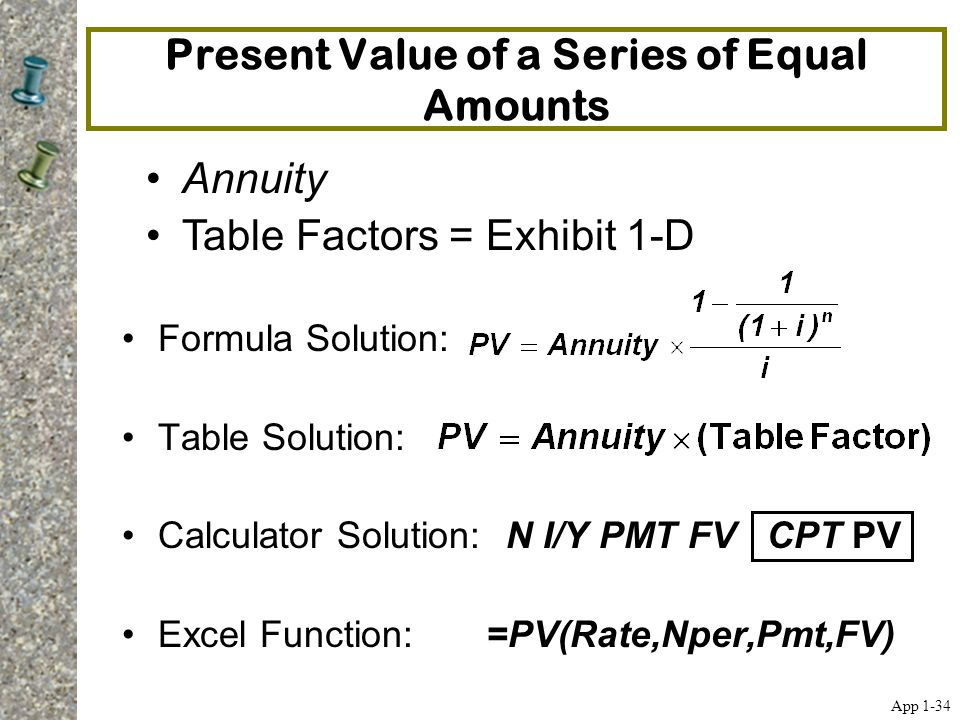 Present Value of a Series of Equal Amounts