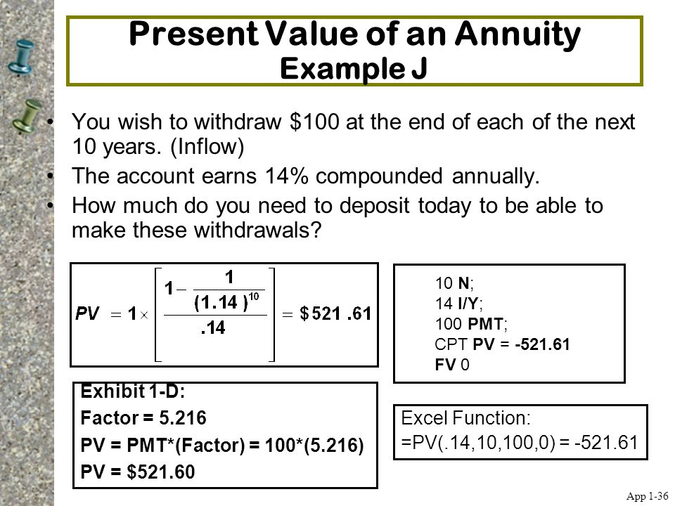 Present Value of an Annuity Example J