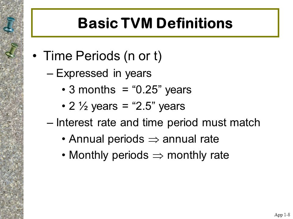 Basic TVM Definitions Time Periods (n or t) Expressed in years
