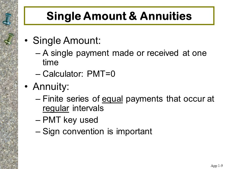 Single Amount & Annuities