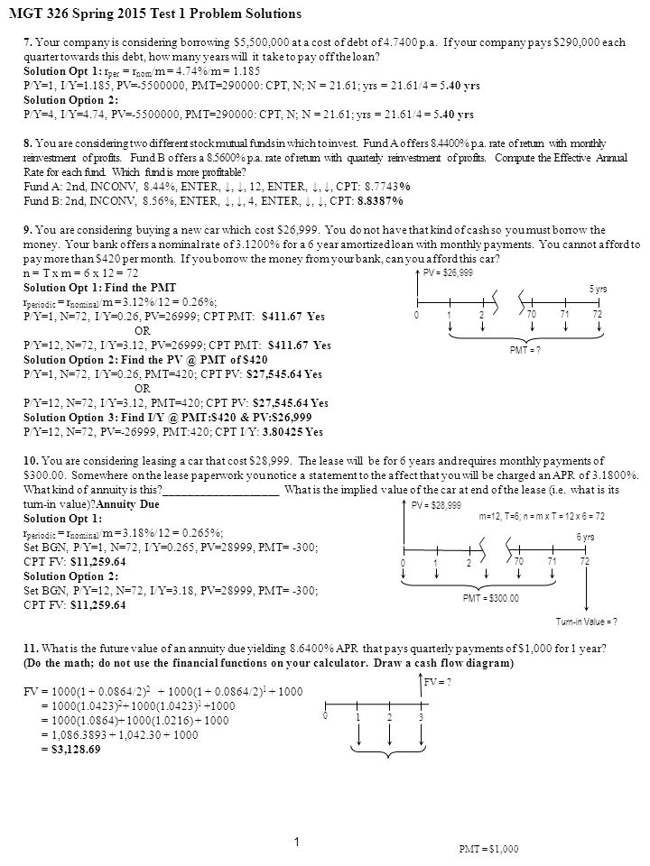 MGT 326 Spring 2015 Test 1 Problem Solutions