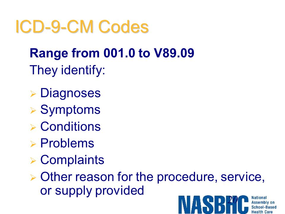ICD-9-CM Codes Range from 001.0 to V89.09 They identify: Diagnoses