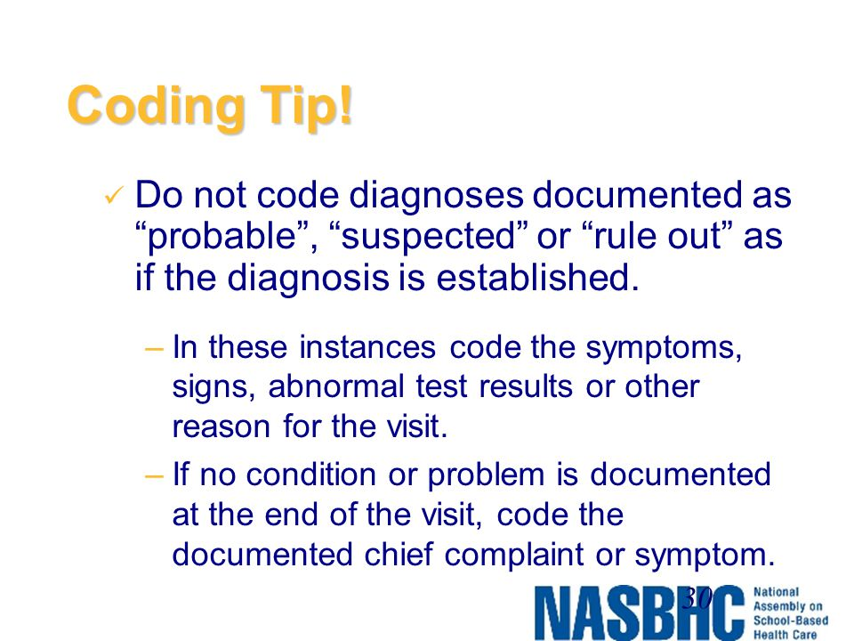 Coding Tip! Do not code diagnoses documented as probable , suspected or rule out as if the diagnosis is established.