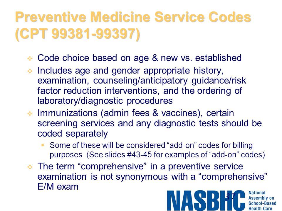 Preventive Medicine Service Codes (CPT 99381-99397)