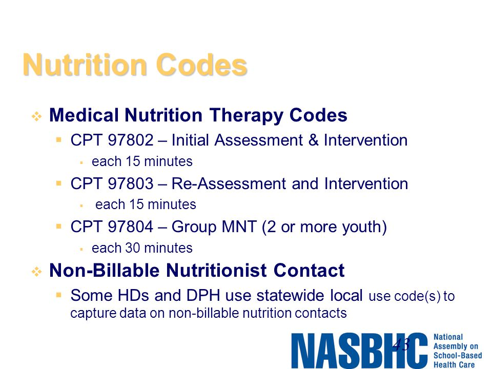 Nutrition Codes Medical Nutrition Therapy Codes