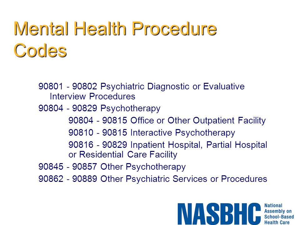 Mental Health Procedure Codes
