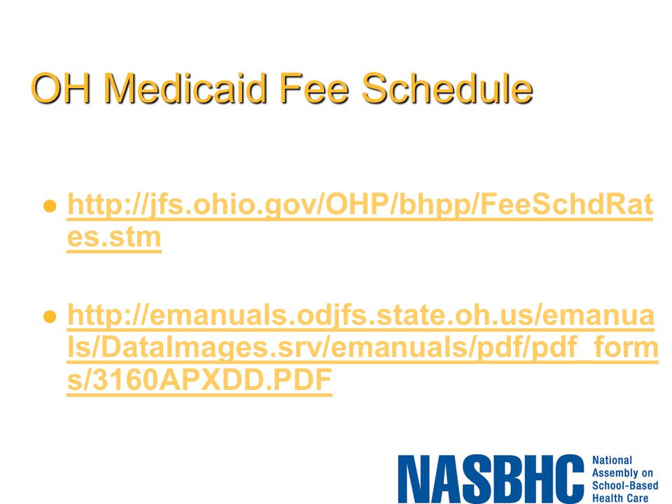 OH Medicaid Fee Schedule