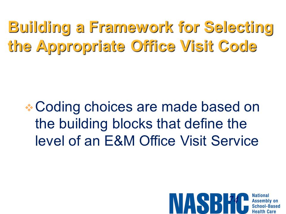 Building a Framework for Selecting the Appropriate Office Visit Code