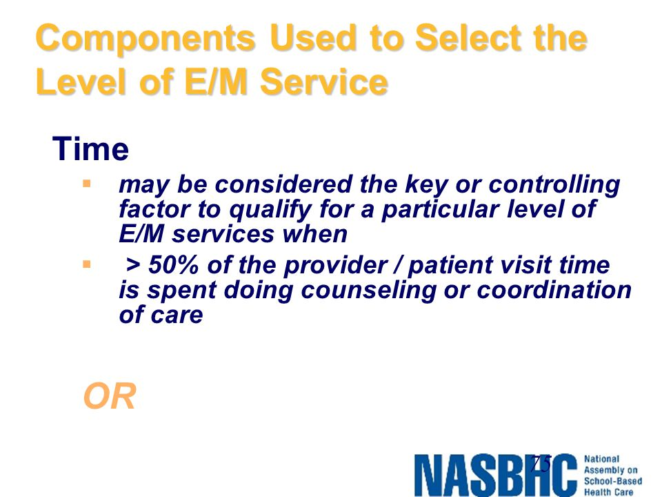 Components Used to Select the Level of E/M Service