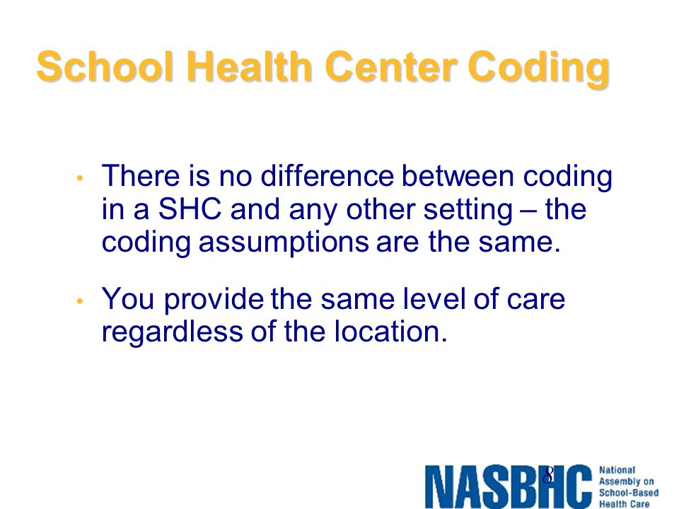 School Health Center Coding