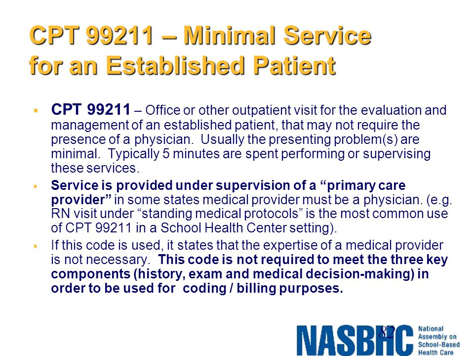 CPT 99211 – Minimal Service for an Established Patient