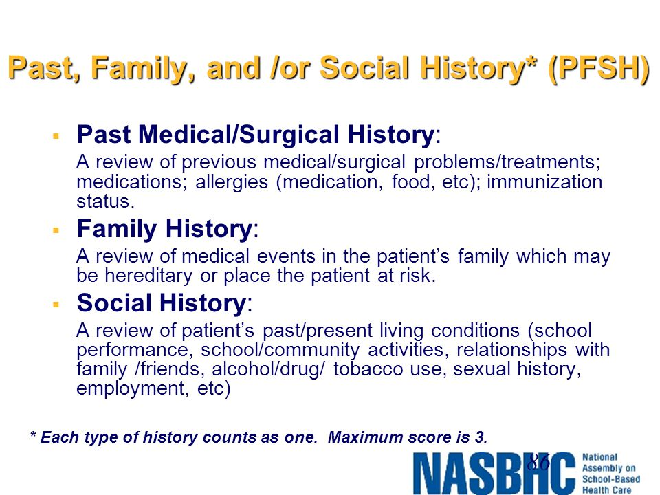 Past, Family, and /or Social History* (PFSH)