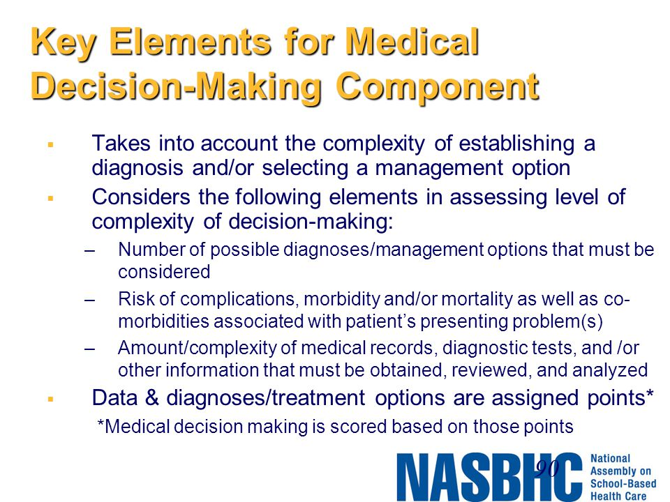Key Elements for Medical Decision-Making Component