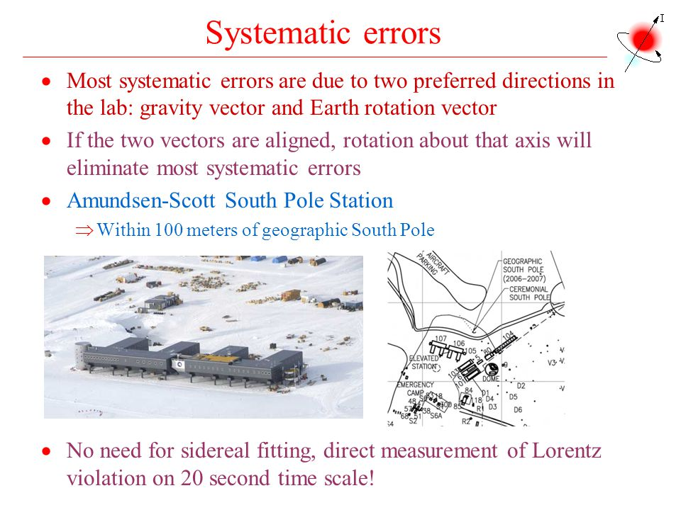 Systematic errors Most systematic errors are due to two preferred directions in the lab: gravity vector and Earth rotation vector.