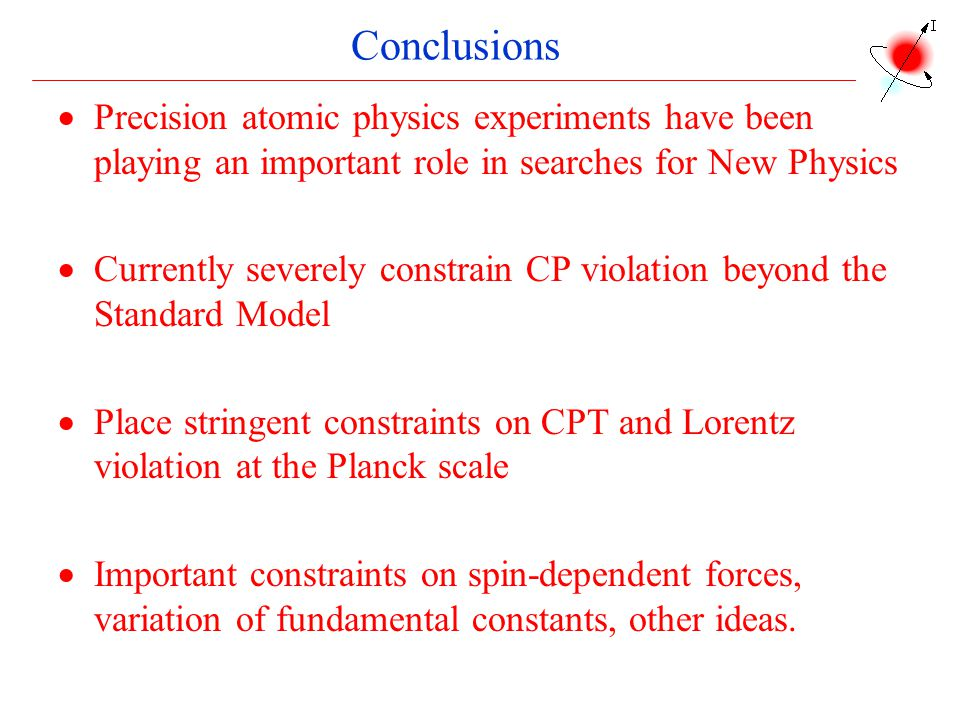 Conclusions Precision atomic physics experiments have been playing an important role in searches for New Physics.