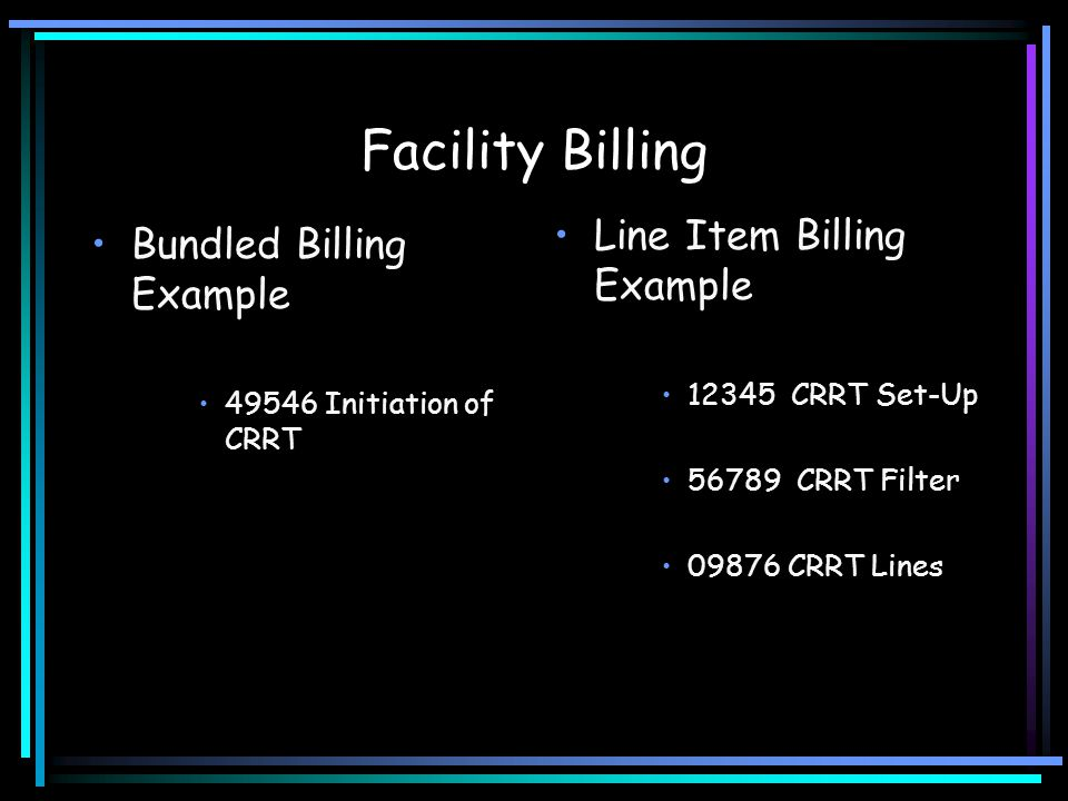 Facility Billing Line Item Billing Example Bundled Billing Example